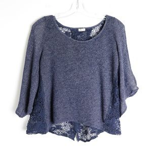 Hollister knit lace back bell sleeve loose cropped